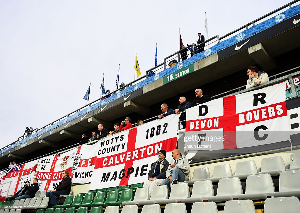 England fans take totheir seats prior to kickoff during the EURO 2016 Qualifier match between Estonia and England at A. Le Coq Arena on October 12, 2014 in Tallinn, Estonia.