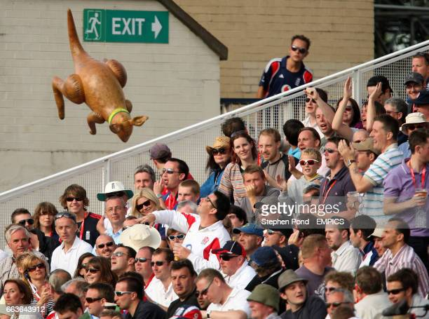 England fans throw around an inflatable kangaroo in the crowd on the fourth day of the third Ashes test at Edgbaston