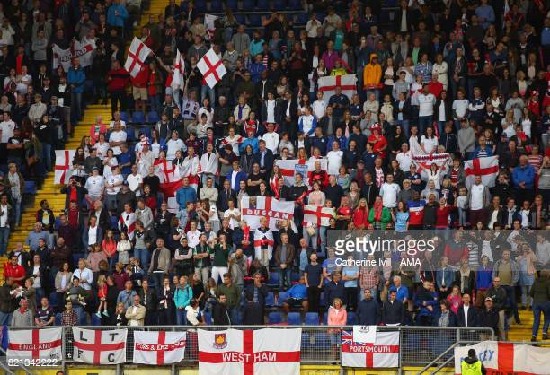 England fans with flags during the UEFA Women's Euro 2017 match between England and Spain at Rat Verlegh Stadion on July 23 2017 in Breda Netherlands