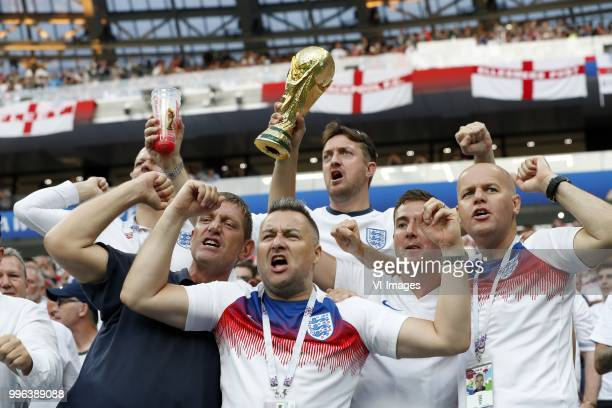 england fans with the World Cup during the 2018 FIFA World Cup Russia Semi Final match between Croatia and England at the Luzhniki Stadium on July 01...