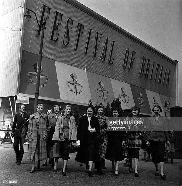 England Fashion models performing in the Festival of Britain's Travelling Exhibition are pictured outside the venue
