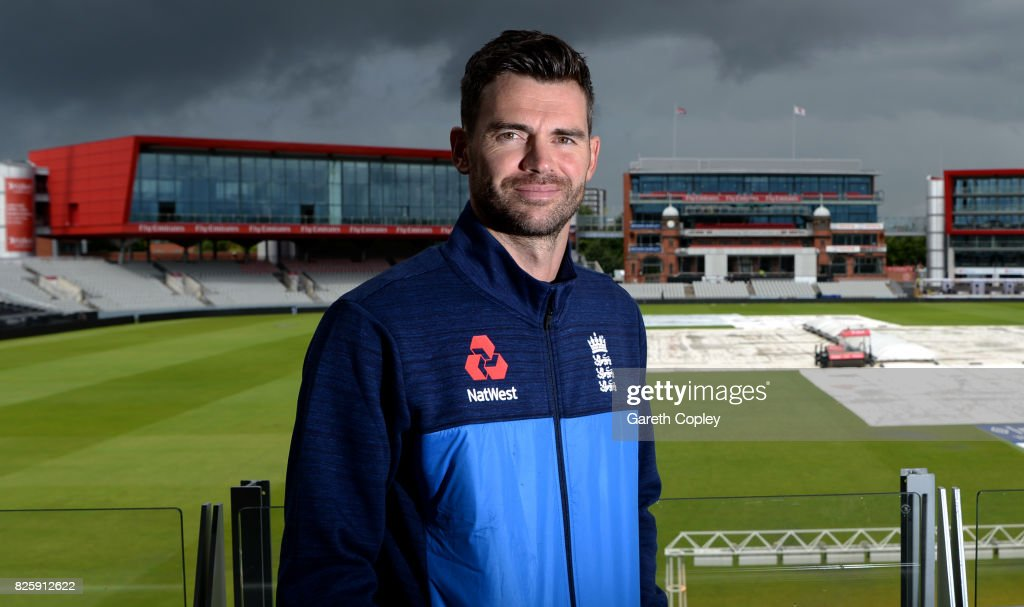 England fast bowler James Anderson poses for a portrait at Old Trafford on August 3, 2017 in Manchester, England.