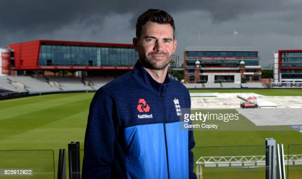 England fast bowler James Anderson poses for a portrait at Old Trafford on August 3 2017 in Manchester England