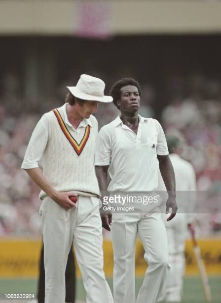 England fast bowler Norman Cowans with captain Bob Willis during the 1982/83 4th Ashes Test Match at the MCG on December 27 1982 in Melbourne...