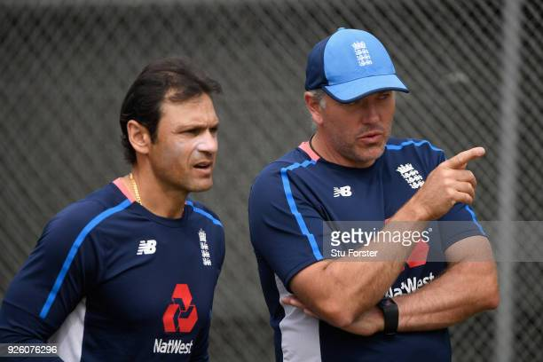 England fast bowling coach Chris Silverwood and batting coach Mark Ramprakash in discussion during nets ahead of the 3rd ODI at Basin Reserve on...