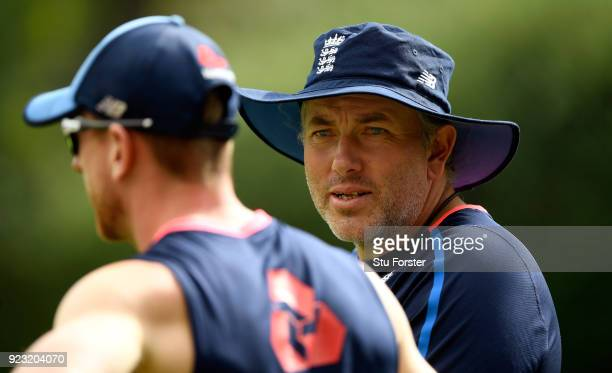 England fast bowling coach Chris Silverwood chats with Paul Collingwood in the nets during an England training session ahead of the First ODI v New...