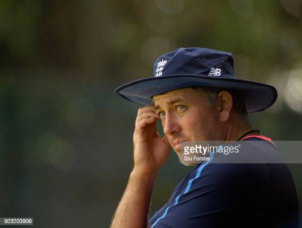 England fast bowling coach Chris Silverwood looks on in the nets during an England training session ahead of the First ODI v New Zealand Black Caps...