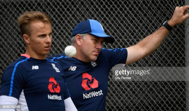 England Fast bowling coach Chris Silverwood looks on with bowler Tom Curran during nets ahead of the 3rd ODI at Basin Reserve on March 3 2018 in...