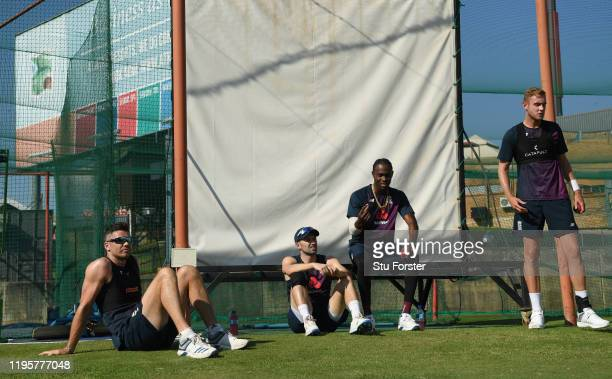 England fast bowling union of left to right, James Anderson, Mark Wood, Jofra Archer and Stuart Broad in discussion during an England nets session...