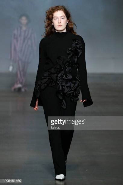 A model walks the runway at the Marques'Almeida show during London Fashion Week February 2020 on February 15 2020 in London England
