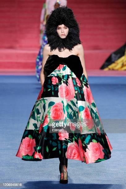 England – February 15: A model walks the runway at the Richard Quinn show during London Fashion Week February 2020 on February 15, 2020 in London,...