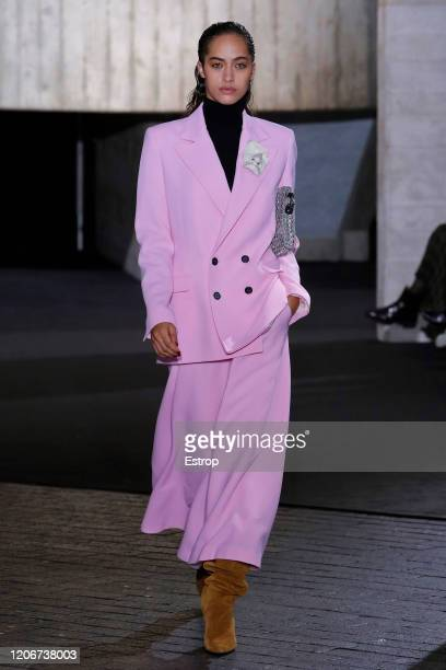 England – February 16: A model walks the runway at the Roland Mouret show during London Fashion Week February 2020 on February 14, 2020 in London,...