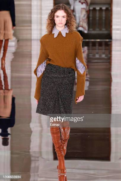 England – February 16: A model walks the runway at the Victoria Beckham show during London Fashion Week February 2020 on February 14, 2020 in London,...