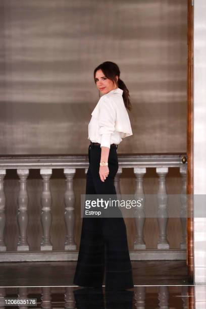 England – February 16: Fashion designer Victoria Beckham at the Victoria Beckham show during London Fashion Week February 2020 on February 14, 2020...