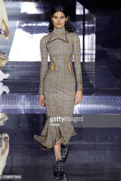 England – February 17: A model walks the runway at the Burberry show during London Fashion Week February 2020 at the Olympia National on February 17,...