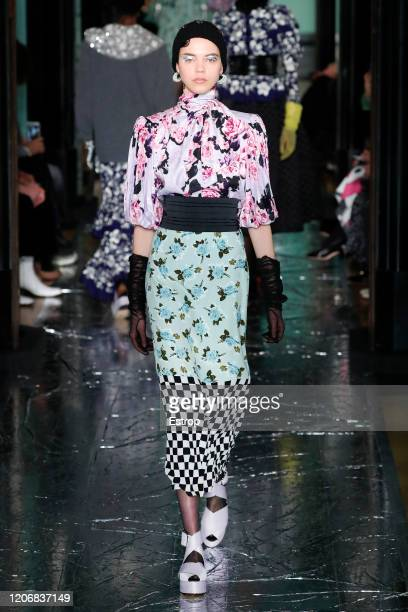 England – February 17: A model walks the runway at the Erdem show during London Fashion Week February 2020 at The National Portrait Gallery on...