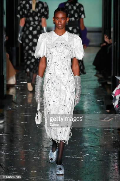 A model walks the runway at the Erdem show during London Fashion Week February 2020 at The National Portrait Gallery on February 17 2020 in London...