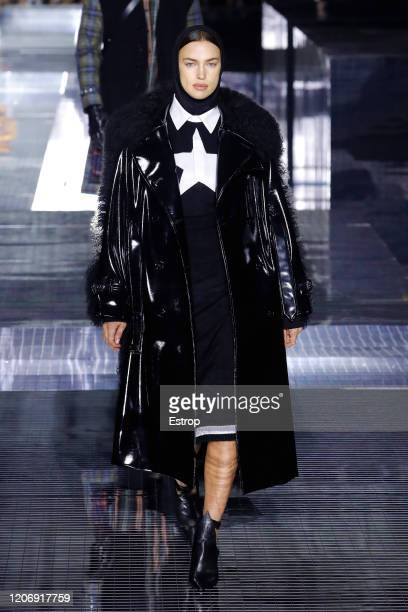 Model Irina Shayk walks the runway at the Burberry show during London Fashion Week February 2020 at the Olympia National on February 17 2020 in...
