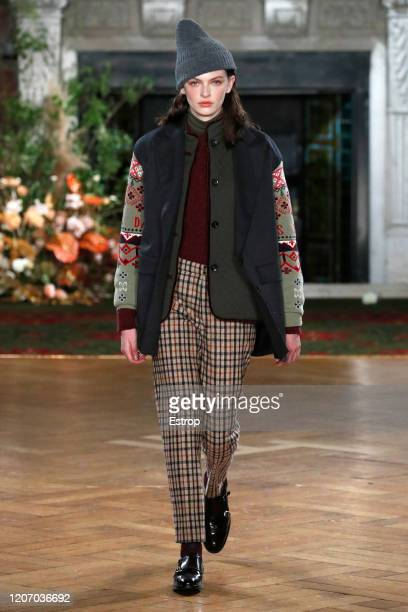 A model walks the runway at the DAKS show during London Fashion Week February 2020 at Gladstone Library on February 18 2020 in London England