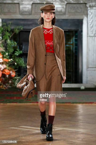 England – February 18: A model walks the runway at the DAKS show during London Fashion Week February 2020 at Gladstone Library on February 18, 2020...