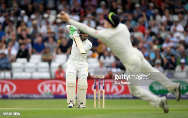 England fielder Dominic Bess catches out Haris Sohail during day three of the 2nd Test Match between England and Pakistan at Headingley on June 3,...