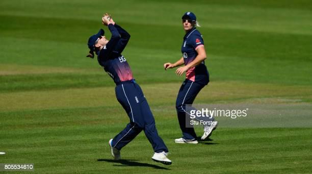 England fielder Fran Wilson takes a catch to dismiss Sri Lanka batsman Nipuni Hansika during the ICC Women's World Cup 2017 match between England and...