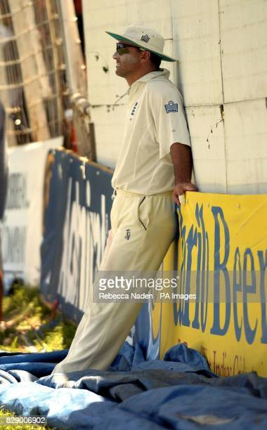 England fielder Graham Thorpe rests on the boundary as West Indian captain Brian Lara scores 400 runs not out and declares on 751 against England...