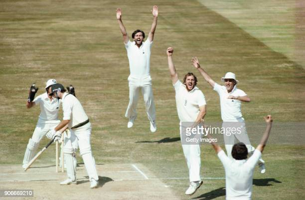 England fielder Ian Botham appeals with success for the catch to dismiss Australia batsman Graham Yallop off the bowling of John Emburey for 30 runs...