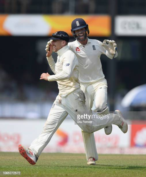 England fielder Jack Leach celebrates with Ben Foakes after running out Sri Lanka batsman Kusal Mendis during Day Four of the Third Test match...