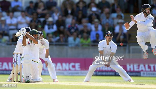 England fielder James Vince evades a shot from Pakistan batsman Sami Aslam during day 5 of the 3rd Investec Test match between England and Pakistan...