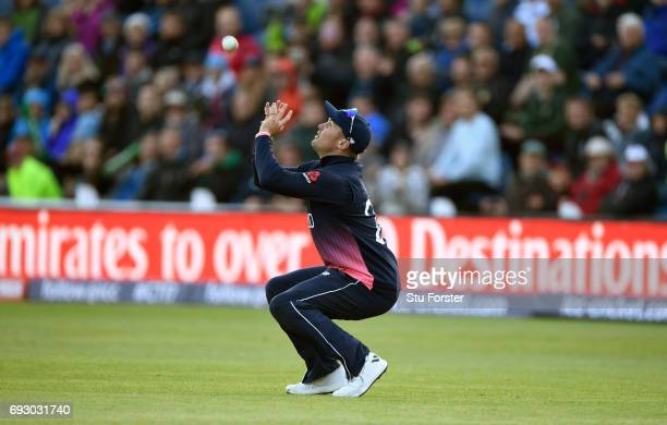 England fielder Jason Roy prepares to catch out last man Tim Southee during the ICC Champions Trophy match between England and New Zealand at SWALEC...