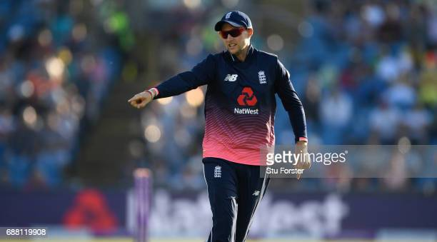 England fielder Joe Root reacts during the 1st Royal London One Day International match between England and South Aafrica at Headingley on May 24...