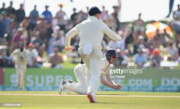 England fielder Keaton Jennings catches out Sri Lanka batsman Angelo Mathews during Day Two of the First Test match between Sri Lanka and England at...