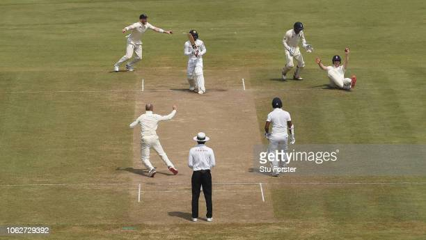 England fielder Keaton Jennings dives to catch Sri Lanka batsman Dhananjaya de Silva off the bowling of Joe Root during Day Four of the Second Test...
