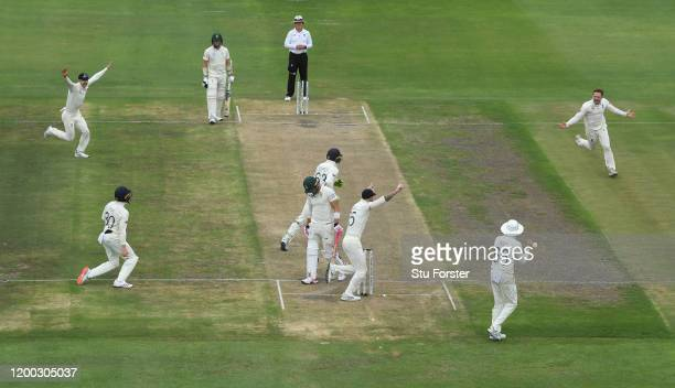England fielder Ollie Pope takes the catch to dismiss Faf du Plessis off the bowling of Dom Bess during Day Three of the Third Test between England...