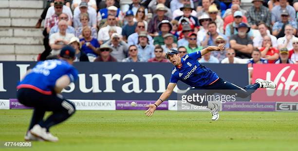 England fielder Steven Finn narrowly fails to take a catch during the 4th ODI Royal London One Day International between England and New Zealand at...