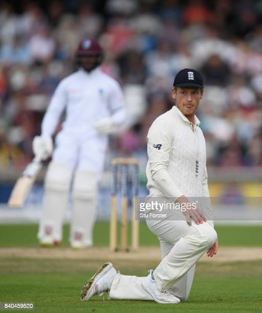 England fielder Tom Westley reacts after an edge from West Indies batsman Kragg Brathwaite to the boundary during day five of the 2nd Investec Test...