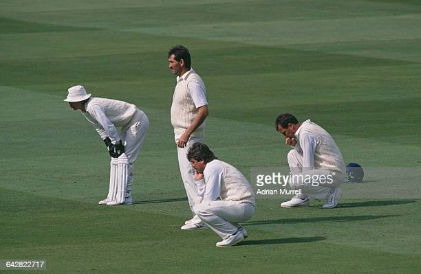 England fielders during the test against Sri Lanka at Lord's London 25th 30th August 1988 Left to right Jack Russell Graham Gooch Allan Lamb and John...
