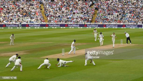 England fielders Keaton Jennings and Dawid Malan react after a dropped catch off Virat Kohli during day two of the First Specsavers Test Match...