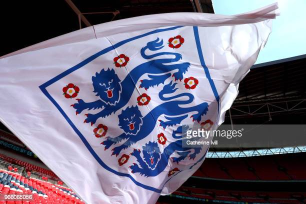 England flag waves in the wind prior to the International Friendly match between England and Nigeria at Wembley Stadium on June 2 2018 in London...