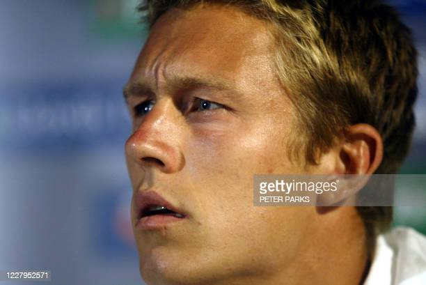 England fly-half Jonny Wilkinson speaks at a press conference in Brisbane, 06 November 2003 for the Rugby World Cup 2003. Wilkinson will earn his...