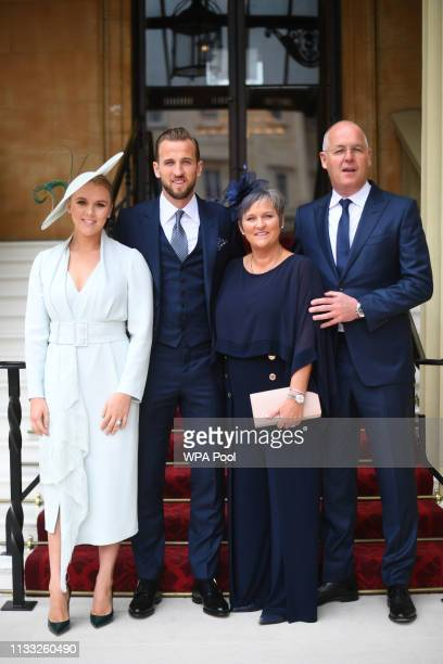 England football captain and Tottenham Hotspur player Harry Kane with his partner Kate Goodland and parents Kim and Patrick Kane arrive for his...