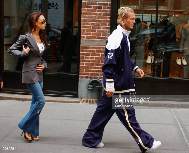 England football captain David Beckham and his wife Victoria Beckham leave their Downtown hotel May 27 2002 in New York City