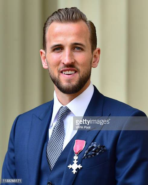 England football captain Harry Kane after being made an MBE by the Duke of Cambridge at an investiture ceremony at Buckingham Palace on March 28,...