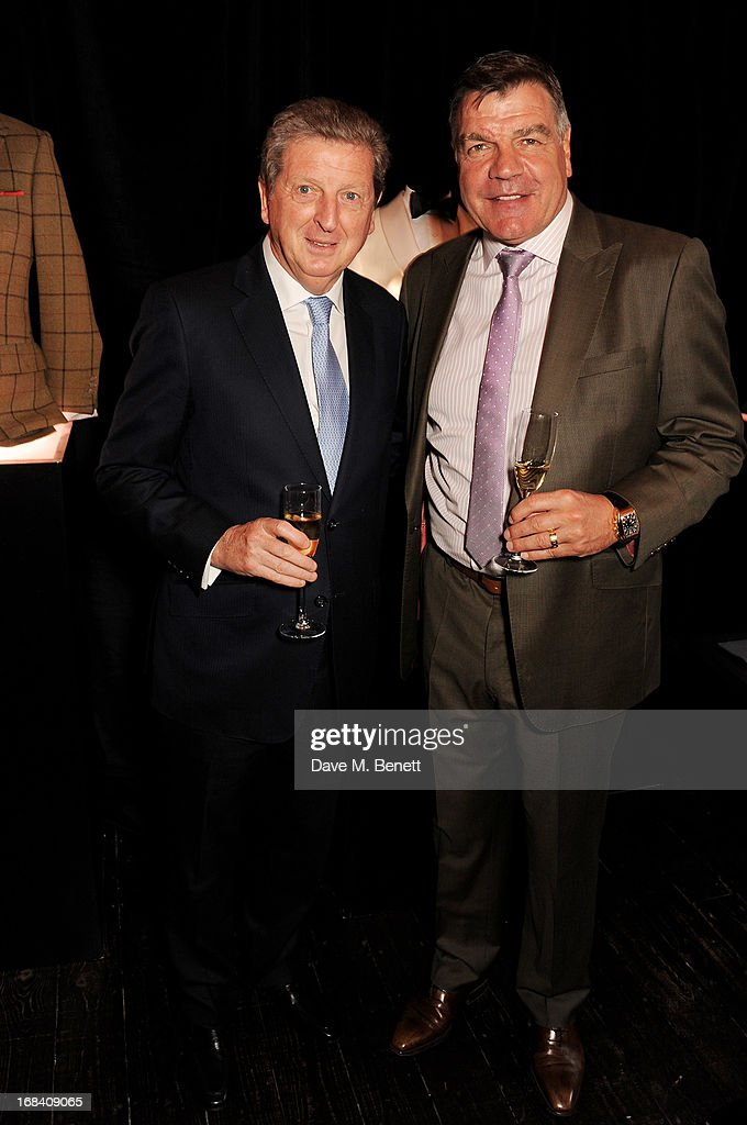 England Football Club manager Roy Hodgson (L) and West Ham United manager Sam Allardyce attends 'A Night of Sporting Gold' hosted by bespoke tailor Apsley at their Pall Mall showroom on May 9, 2013 in London, England.