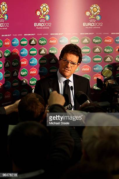 England football coach Fabio Capello addresses the media after the Euro2012 Qualifying Draw at the Palace of Culture and Science on February 7, 2010...