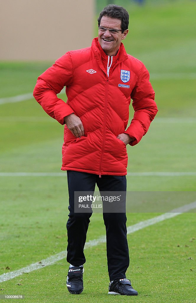 England football coach Fabio Capello laughs during a training session of the English national football team in Irdning, Austria on May 19, 2010 ahead of the World Cup Finals in South Africa. The English football team arrived in Austria on May 17 for a training camp at altitude ahead of the World Cup.