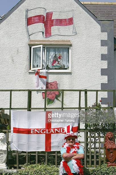 England football fan Charles Jelly proudly stands outside his decorated home in Yardley Wood Birmingham on 5 June Birmingham England As World Cup...