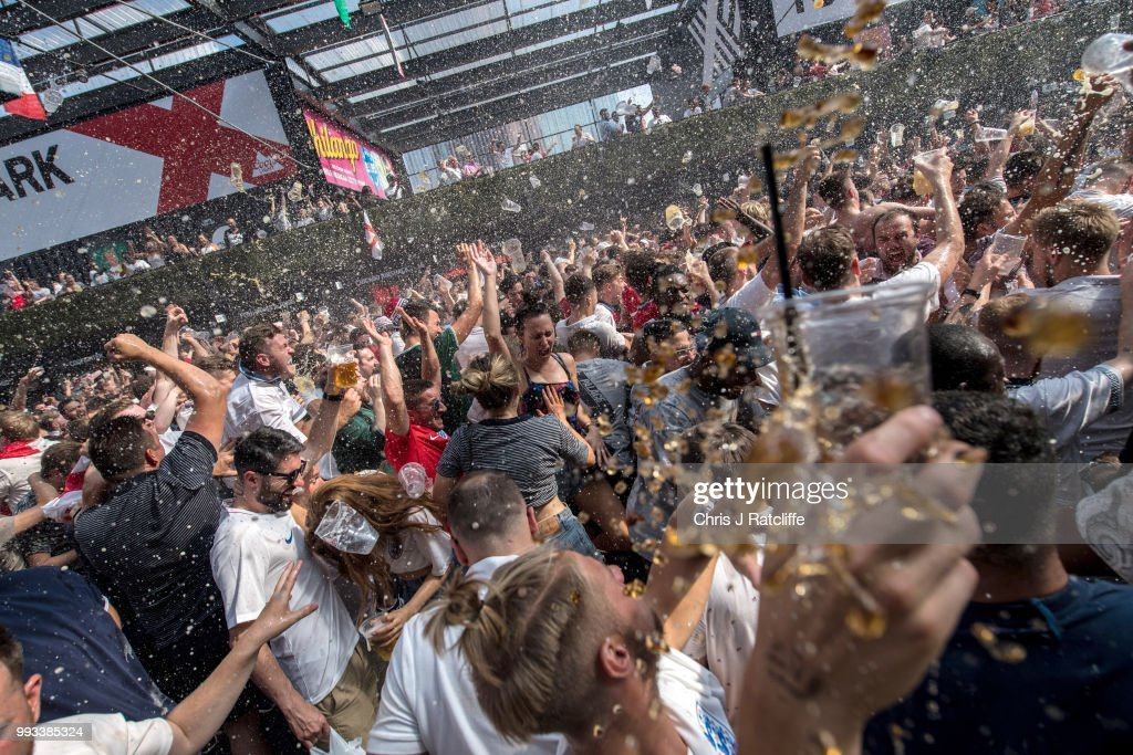 Football Fans Watch England Take On Sweden In The World Cup Quarter Finals : News Photo