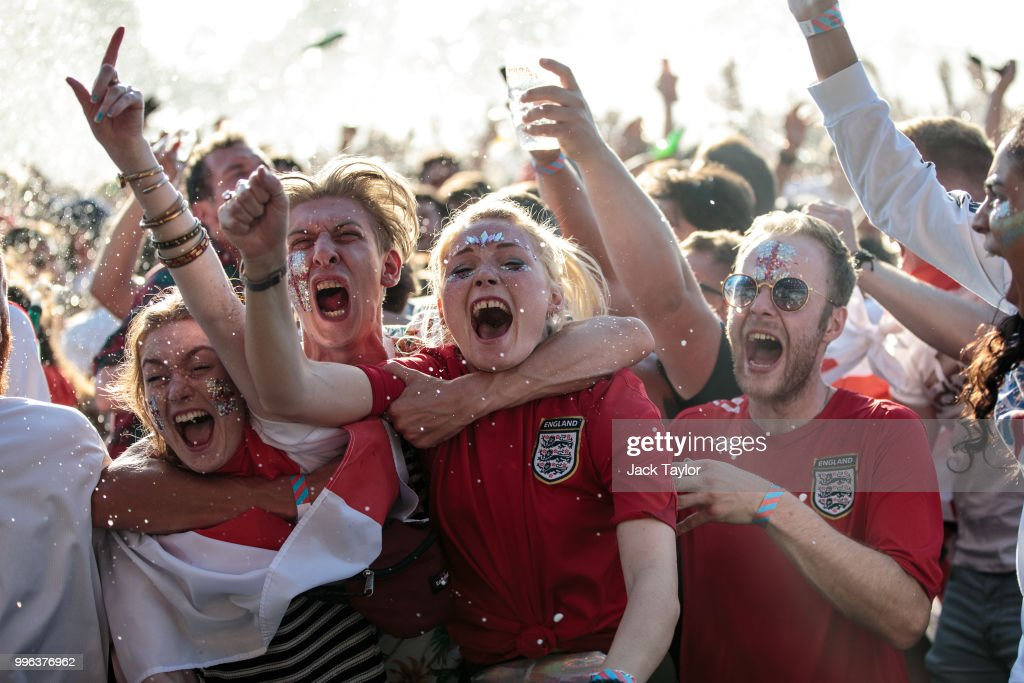 England football fans celebrate England's first goal during a Hyde Park screening of the FIFA 2018 World Cup semi-final match between Croatia and England on July 11, 2018 in London, United Kingdom.The winner of this evening's match will go on to play France in Sunday's World Cup final in Moscow. Up to 30,000 free tickets were available by ballot for the biggest London screening of a football match since 1996.